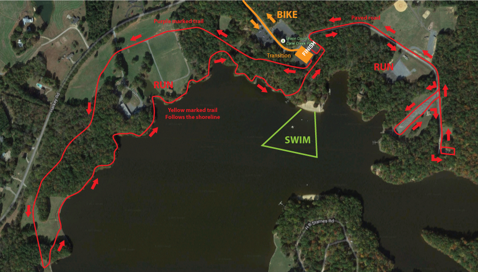 Cane Creek Triathlon Run Course
